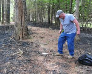 The ground was very solid, even jumping didn't make a dent. You can also see the scorch from the controlled burn.